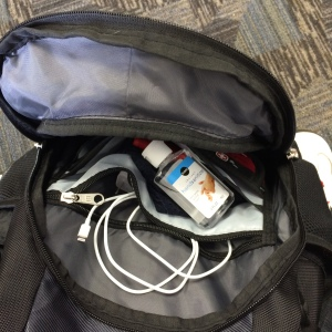charger cables and sanitizer