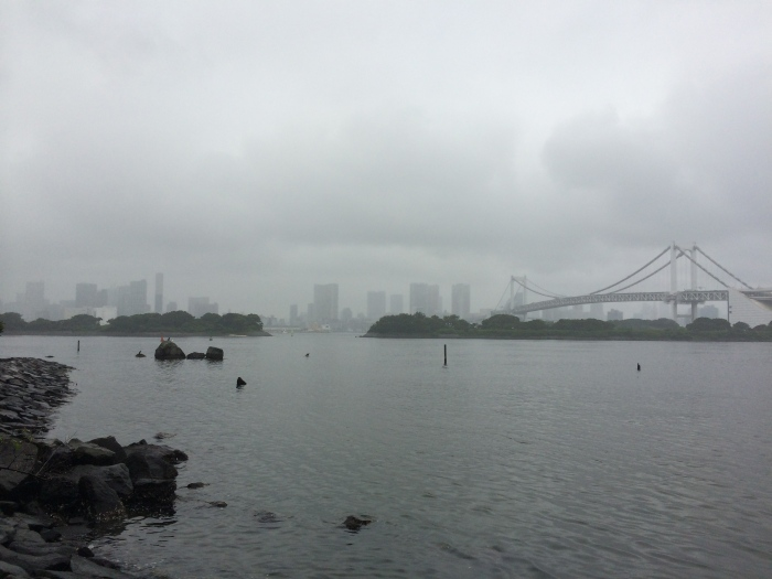 The view today of Tokyo and Tokyo Bay from Odaiba's beach.