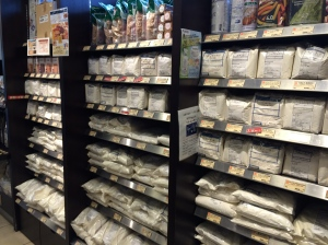No kidding, this is about a hundred different types of flour for sale.