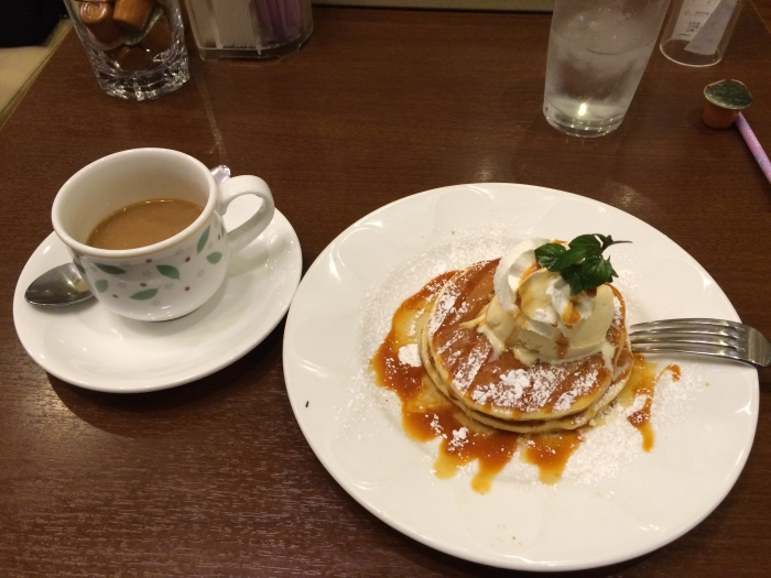 This is what breafast at Denny's looks like in Japan. That's ice cream and caramel and the envy of friends and family drizzled on top.