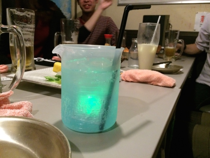 Matsukiyo had a drink in a beaker that glowed (thanks to an led-lit ice cube).