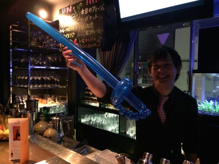 Had a bartender make me a sword balloon recently.