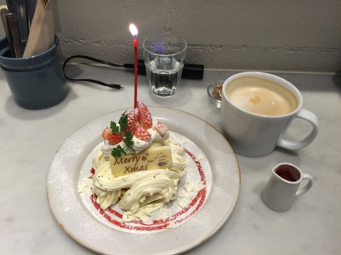 Ate at a pancake cafe and of course had to order the limited time Christmas pancake.