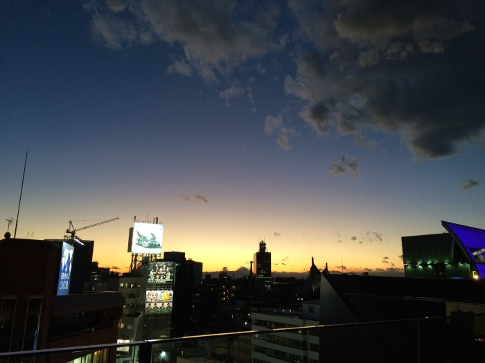 Tonight, stood on the roof of a department store in Harajuku and watched the sun set. Fuji is visible in the distance.