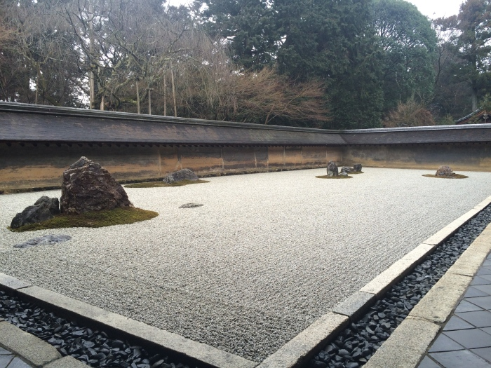 The rock garden at Ryōanji.