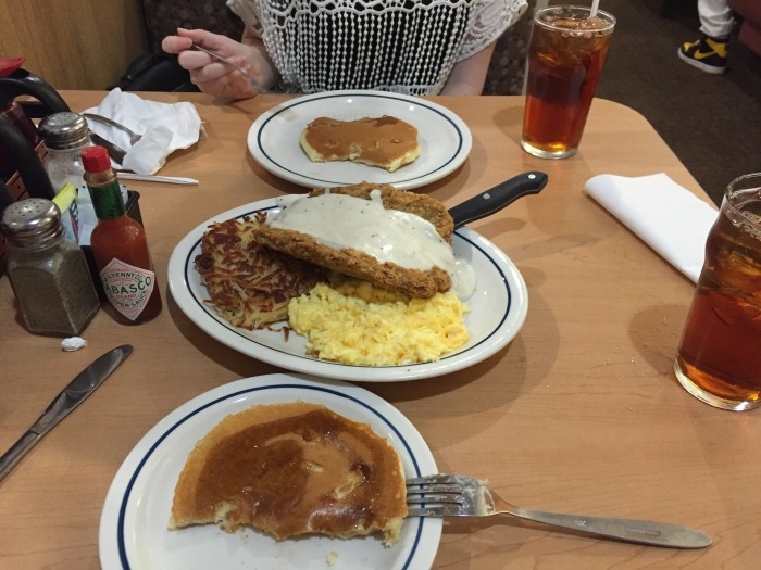 IHOP's country fried steak, scrambled eggs, hash browns, and cream cheese pancakes. In American English,